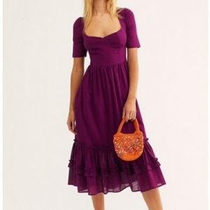 NWOT Free People lace up tiered maxi dress XS